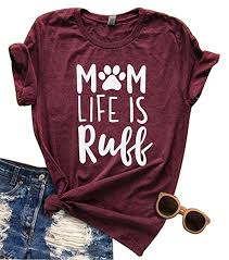 Women Mom Life Is Ruff T Shirt Funny Dog Paw Casual Short Sleeve Top Blouse