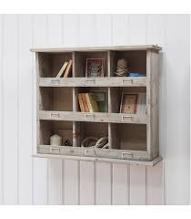 rustic style wall unit with cubby hole storage