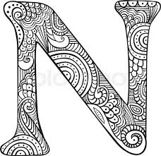One of such methods are coloring pages with english letters and alphabet. Stock Vector Of Hand Drawn Capital Letter N In Black Coloring Sheet For Adults Doodle Art Letters Mandala Design Art Coloring Letters