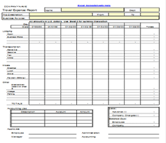 Expense Report Template For Excel Travel Expense Report Form Template Spreadsheet Download In