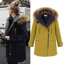 whole uk 2016 new women winter fur hooded navy blue yellow woolen long coat nibbuns female side zipper overcoat plus size xl 5xl overcoat styles zipper
