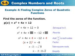 example 4 finding complex zeros of quadratic functions