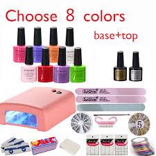 burano nail kit art diy full set led soak off uv gel polish manicure topcoat basecoat 4color uv gel 36w lamp kit set 002 new