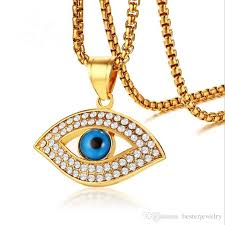 whole whole gold evil eye turkey charm pendant rhinestone las stainless steel necklace with chain for women heart shaped pendant necklace gold