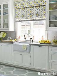 yellow and gray kitchen window treatment