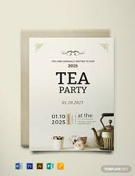 tea party invitations free template free high tea party invitation card template word psd