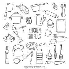 kitchen utensils vector. Sketchy Kitchen Supplies Utensils Vector O