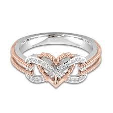 Módní Prstové šperky Dvojfarební Twisted Love Srdce Nekonečno Zircon ženy Prsten At Vova