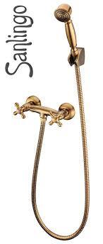 retro bath shower water tap cross head hand shower hose brass sanlingo masa series