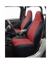 coverking custom fit seat cover for jeep wrangler tj 2 door neoprene black red