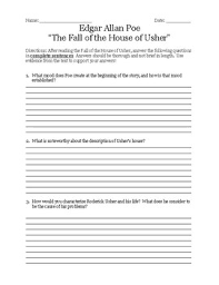 edgar allan poe the fall of the house of usher teaching resources  edgar allan poe the fall of the house of usher teaching resources teachers pay teachers