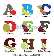 Alphabetical Order Fruit And Vegetable Alphabet A Vector Illustration Of Fruit And