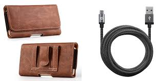 bemz accessory bundle for alcatel tetra pu leather wallet card slot coin holder holster carry case brown with heavy duty nylon braided micro usb