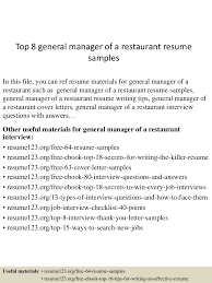 Top8generalmanagerofarestaurantresumesamples 150723075555 Lva1 App6892 Thumbnail 4 Jpg Cb 1437638200