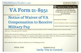 2013 Va Compensation Rates Chart Waive Va Compensation For Military Pay Va Form 21 8951