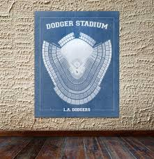 Print Of Vintage Los Angeles Dodger Stadium Seating Chart On Photo Paper Matte Paper Or Canvas