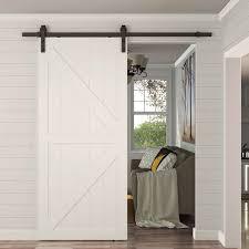 hom 8ft modern carbon steel sliding wood barn door hardware kit track set door system black