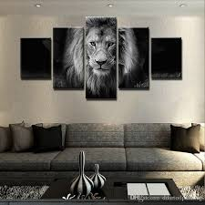 2018 modern 5 panel black and white animal lion canvas wall art picture for home or living room decoration gift for dad unframed from ddartoilpainting  on photo canvas wall art with 2018 modern 5 panel black and white animal lion canvas wall art