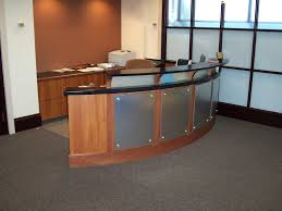 bow front desk office furniture dallas tx custom made accounting reception mica cal
