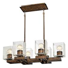 westinghouse manchester 6 light barnwood chandelier with clear seeded glass shades