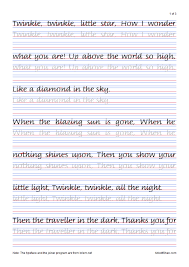 English Handwriting Practice Twinkle Twinkle Little Stars Italic Handwriting