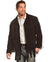 liberty wear men s suede fringe western jacket black hi res