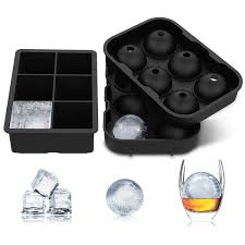 maybeau ice cube trays 2 pack silicone tray set sphere round ice ball maker and square ice cube mold for whiskey cocktail beverages soft drinks