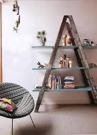 reclaimed ladder decorative shelf
