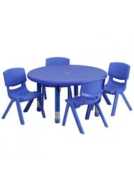 preschool table and chairs. 33\u0027\u0027 Round Blue Plastic Height Adjustable Activity Table Set With 4 Chairs YU- Preschool And L