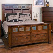 Sunny Designs 2322DC-Q Santa Fe Queen Panel Bed in Dark Chocolate with  Storage