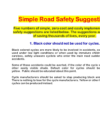 simpe road safety suggestions simple road safety suggestionsfive numbers of simple zero cost and easily implementable roadsafety suggestions are