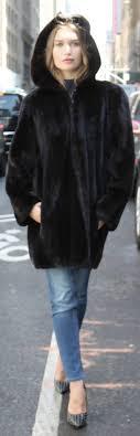 pre owned ranch mink fur er jacket zippered hood 40909