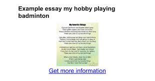 My Favourite Story Essay Creative Writing Badminton