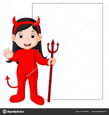 cute devil cartoon with blank sign stock vector