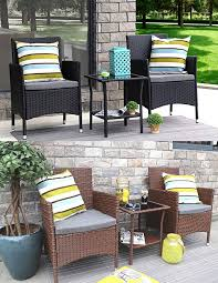 baner garden 3 pieces outdoor furniture complete patio cushion pe wicker rattan garden dining set full 2 colors black and brown q16