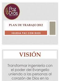 Plan De Trabajo 2012 De La Iglesia Cristiana Paz Con Dios Plan De Trabajo Anual De Una Iglesia Evangelica