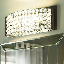 manificent plain crystal vanity lights for bathroom chrome