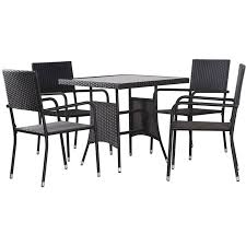 outdoor dining set poly rattan black 5