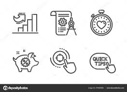 Divider Document Heartbeat Timer And Growth Chart Icons Set