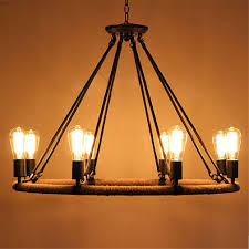 industrial lighting chandelier. Ferand 14 Heads Edison Bulbs Chandelier Industrial Rope Iron Round Lighting H