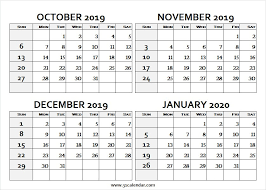 Print October 2019 January 2020 Calendar Excel Calendar 2019
