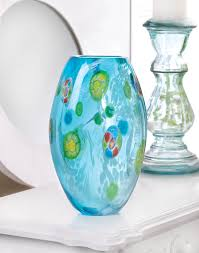 glass vases decorative small blue colored modern flower vase