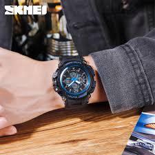 Skmei 3 Time <b>Multifunction Sport Men</b> Quartz Digital PU Strap Watch ...