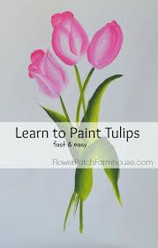 a fast easy tutorial on how to paint tulips in acrylics