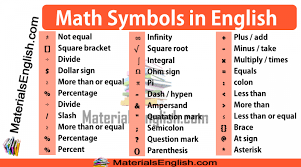 Math Symbols Meanings Math Symbols Meanings Materials For Learning English