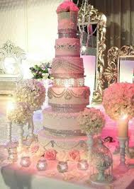 Wedding Cake Pink With Lots Of Bling Quinceañeras Wedding