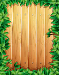 Border Design With Green Leaves On Wooden Wall Vector Free Download