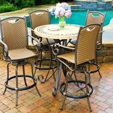 astounding barstool table high top round patio table and four metal swivel chairs barstool table set