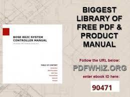 bose 802 controller. bose 802c system controller manual 802
