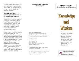 spiritual gifts knowledge and wisdom